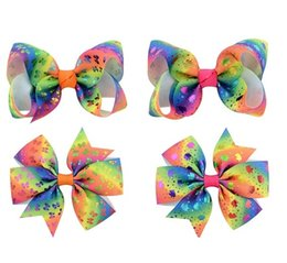 $enCountryForm.capitalKeyWord Canada - 24 Pcs Girls 3-3.15 Inch Unicorn Print Gradient Rainbow Ribbon Hair Bows With Clip Hairpins Barrettes Hair Clips Beautiful HuiLin C176