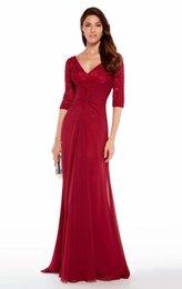 Cheap Half Sleeve V-Neck Chiffon Mermaid Prom Gown Modest Women Floor Length  Free Shipping Banquet Evening Dress Fashion Brand b1bf145803ce