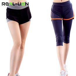 $enCountryForm.capitalKeyWord Canada - RealLion Sport Leggings Women Shorts High Elasticity Yoga Quick Dry Gym Running Capris Fitness Tights Fake Two Pieces