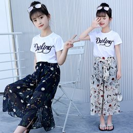 Discount retail girl shirt - Retail 2Pcs Sets For Kids Girls Summer Casual White Cotton Letter Pullover T-Shirt&Tees+Princess Bow Floral Chiffon Loos
