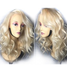 Long bLeached bLonde hair online shopping - Brazilian Loose Wave Pure Blonde Lace Front Wigs With Baby Hair Density Remy Human Hair Bleached Knots Side Part