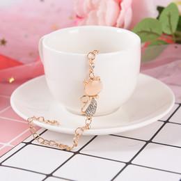 Bracelets for cats online shopping - Rose Gold Cute Zircon Cat Bracelets Charms Bracelets Bangle for Women Children Girl DIY Jewelry Gifts Trendy Jewelry