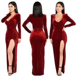 China Hot Velvet Autumn Long Dress Christmas Women Costumes Evening Party Dress Long High Vents Plus Size Casual Sexy Dresses cheap evening women costume suppliers