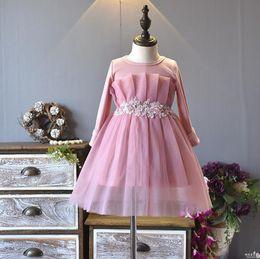 $enCountryForm.capitalKeyWord Canada - Girls Dresses Christmas 2018 new girls Korean fashion lace waist flower knit mesh stitching princess dress DDS3203
