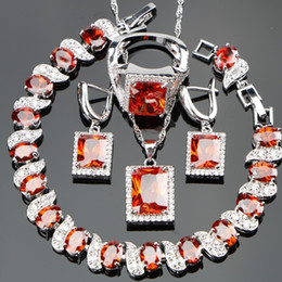 Silver Costume Jewelry Rings Australia - ostume jewelry set Bridal Silver 925 Costume Jewelry Sets For Women Wedding Jewelery With Red Stones Bracelets Pendant Rings Earrings Fre...