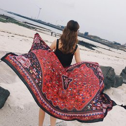 cotton summer scarves Canada - 2018 Summer Print Silk Scarf Oversized Cotton Scarves Women Pareo Beach Cover Up Wrap Sarong Sunscreen Long Bohemian Cape Female 180*100 CM