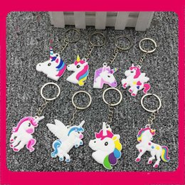 Trendy charms online shopping - Cute Funny Pendants Creative Rainbow Horse Pegasus Design Kers Chain Charm Cartoon Soft PVC Unicorn Style Key Buckle New Arrival xh Z