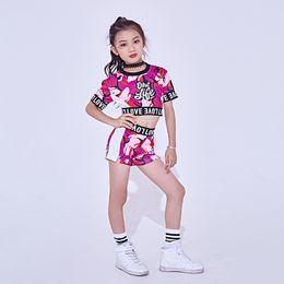 New Jazz Dance Costume For Girls Cheerleader Dancing Hip Hop Costumes Kids  Dancewear Tops Shorts 2 Pcs Set Jazz Clothes DL2456 d250b2fe9de