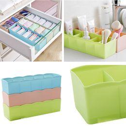 Plastic Storage Organizers Canada - 5 Cells Plastic Organizer Storage Box Tie Bra Socks Drawer Cosmetic Divider Tidy storage box Hot Sale