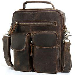 Discount large brown leather men messenger bag - Cowhide crazy horse leather Leather Satchel Cross body Bag Vintage Style Small Tote Handbag Men Large Purse Messenger Ba