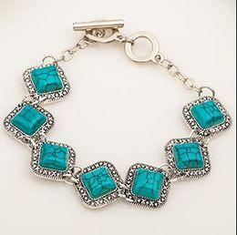 Pulseira de modelagem de diamante retro turquesa em Promoção
