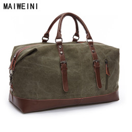 04eae01d2e7f Wholesale-Fashion Canvas Leather Men Travel Bag Large Capacity Men Hand  Luggage Travel Duffle Bags Weekend Bags Multifunctional Tote Bag