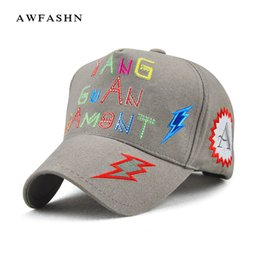 2e6d1010b92 Baseball caps letter lightning embroidered Hip Hop hat patch women s caps  park black game graffiti bone casquette snapback women