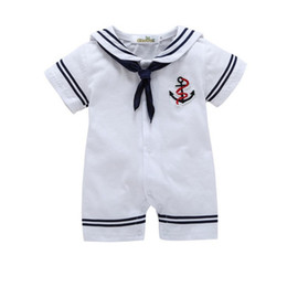 BaBy sailor suits online shopping - Newborn baby boy cotton outfits romper newborn infant one piece clothes boys clothes jumpsuit baby sailor suit