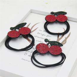 Discount girl hair accessories cherry - 10PCS LOT Novelty Cherry Diamonds Elastic Hair Bands For Girls Handmade Bow Headband Scrunchy Kids Hair Accessories For