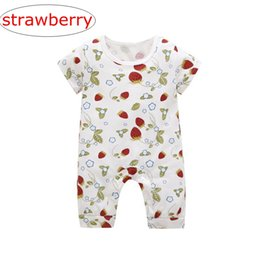 09707af09f2 ins summer strawberry full print infant romper kids cat print Jumpsuits  baby fruit all print rompers 0-3years free ship