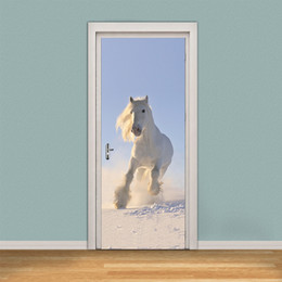 wall stickers horses 2019 - 2Pcs Set Pentium Horse Posted Wooden Renovation Bedroom Creative Self Adhesive Decorative Waterproof 3D Door Wall Sticke