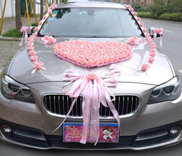 decorated cars 2019 - Wedding Car Decoration Flower Set PE Artificial Rose Door Handles and Rearview Mirror Decorate Heart-shaped Wedding Car