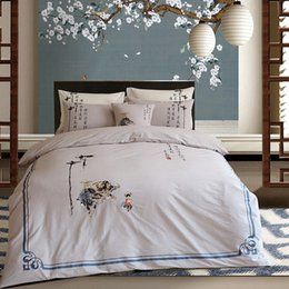 Discount embroidered bedding designs - 2018 new design Chinese traditional poem Scenes Farm cattle and cowboy embroidery water washed cotton 4pcs bedding set h