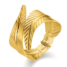 China JUST FEEL Hot Big Surface Width Woman Cuff Bangles&Bracelets Cool Gold Color Exagerated EU Style For OL Women Jewelry Bracelet supplier just style suppliers