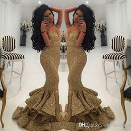 evening gown backless 2019 - 2019 Vintage Bling Gold Sequined Split Prom Dresses Mermaid Spaghetti Strap Open Back Sweep Train Evening Gowns Pageant