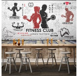 $enCountryForm.capitalKeyWord Australia - Wholesale-custom photo wall mural wallpaper non-woven wallpaper Retro Vintage Body Building Gym 3d TV backdrop wall paper home decor