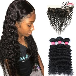 human hair deep curly weave closure 2019 - 3 4 Bundles Brazilian Deep Wave Hair With Frontal 13x4'' Human Curly Bundles with frontal Closure Brazilian De