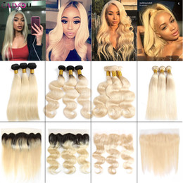 Russian blonde haiR bundles online shopping - 1B Body Wave Two Tone Ombre Human Hair Bundles with Lace Frontal Blonde Brazilian Virgin Remy Human Hair Weaves Closure