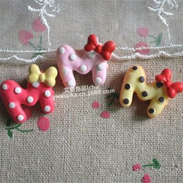 Bow tools online shopping - Simulation M Shape Diy Resin With Red Bow Letter Parts Children Accessory Hairpin Material Arts And Crafts Colorful cy jj