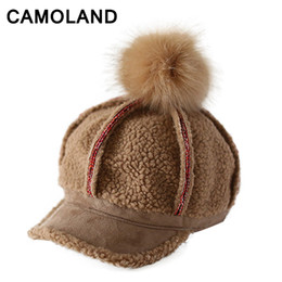 $enCountryForm.capitalKeyWord Australia - Baseball caps for women winter Female Octagonal Cap Sun Visor bone Elegant Ladies fur Hat Warm Pom pom Equestrian Cap For Girls