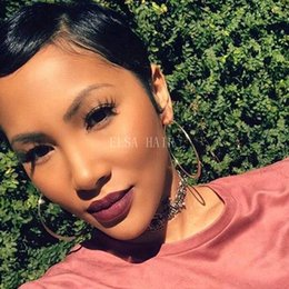 hot hairstyles for short hair 2019 - Hot Bob Brazilian 100% Virgin Human Hair Lace Front Wig Short Silky Straight Glueless Full Lace Human Hair Wigs For Blac