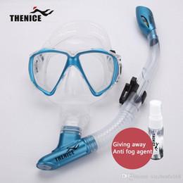 Ingrosso THENICE Nuovo Dry Diving Mask Snorkel Occhiali Tubo di respirazione con silicone anti-appannamento agente di nuoto a stato solido