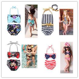 kids girls Swimwear Flower printed Toddler Baby two-piece swimming suit summer striped beachwear Swimsuit Bikini Tankini Swimwear SET hot on Sale