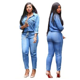 Fitted Denim Jumpsuit Australia - Sexy turn down collar long sleeve fashion casual denim jumpsuit elastic waist fitted party jumpsuit with buttons and pockets