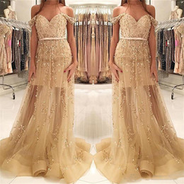 Wholesale beaded trims resale online - Off the Shoulder Beaded Prom Dresses with Horsehair Trim Corset Back Plus Size Formal Occasion Dress Custom Made Pageant Gown