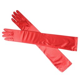 Wholesale Long Finger Elbow Sun Protection Gloves Opera Evening Party Prom Costume Fashion Gloves Black Red White Grey Women