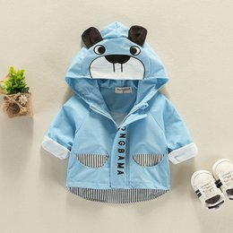 Wholesale small Bear cartoon Baby boys topcoat Spring Hoodies or Sweatshirts kids clothing children Windbreaker Toddler boy clothes