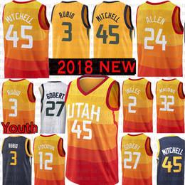 6b86511d9 Youth Men Utah 45 Donovan Mitchell 3 Ricky Rubio Jazz Jersey 27 Rudy Gobert  2 Joe Ingles 32 Karl Malone 12 John Stockton 24 Grayson Allen