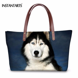 Dog Shopping Bag NZ - INSTANTARTS Fashion Women Large Tote Bags Cute 3D Animal Dog Husky Print Female Shoulder Bags for Shopping Travel Beach Handbags