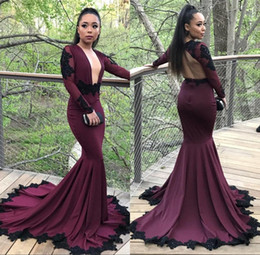 gold collar shirt 2019 - 2018 Sexy Deep Plunging V Neck Burgundy Mermaid Formal Evening Gowns With Black Appliques Long Sleeves Prom Dresses Part