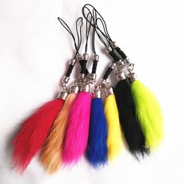 $enCountryForm.capitalKeyWord Australia - New Fashion 7 Color Rabbit Hair Tail Design Bag Key Chain Red Black Blue Yellow Coffee Car Key Ring Mobile phone accessories