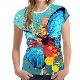 $enCountryForm.capitalKeyWord NZ - Customized Women Tops Short Sleeve T Shirt Butterfly Printed Female Cothes T-Shirt 3D Painting Tshirt Fashion Ladies Tee Shirt