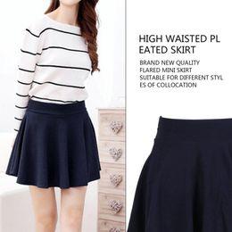 4f89a3b41e High Waist Girl's Pleated Skirts Kawaii Harajuku Skirts Women Girls Plain Skater  Flared Skirt Large Size School Uniform Style