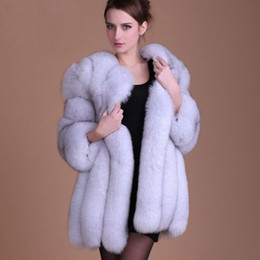 Wholesale furry jackets resale online - S XL plus size Winter New fashion Fake fox fur jacket women s Furry stitching thicker warm Faux fur coat wj1231