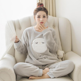 Women Velvet Clothes Australia - Flannel Women Sleepwear Winter Female Pajamas Sets Thick Warm Female Suit Long Sleeve Pyjamas Women Velvet Home Clothes