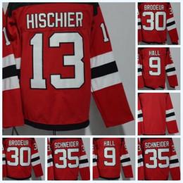 Mens NHL 2017-18 Season New Jersey Devils 13 Hischier 30 Brodeur 9 Hall 35  Schneider Blank Red Home Premier Hockey Jerseys 100% Stitched 06eb7bf04