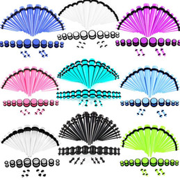 Wholesale 36pcs set Acrylic Gauges 14G-00G Tapers and Plugs Ear Expander Studs Stretching Kit Body Piercing Jewelry Earrings