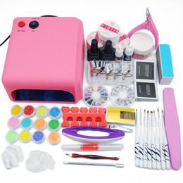 Discount purple gel nail polish - manicure set UV LED Lamp & 12 Color UV Nail Polish Art Tools Polish Nail Set Kit Building Gel Manicure