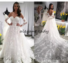wedding dress separates 2019 - Gorgeous Lace Wedding Dresses Sweetheart separate Long Sleeves Appliques Backless Wedding Gowns Chapel Train Bridal Dres