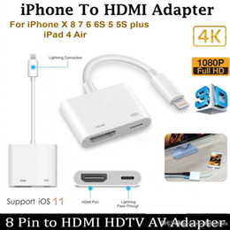 Video Cable Hdmi Adapter Australia - HD 1080P 8Pin for Light to HDMI Digital AV Audio Video Adapter Cable For iPhone iPad to HDMI HDTV Display Converter